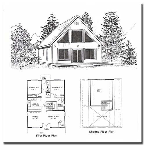 2 bedroom cabin plans with loft for Small a frame cabin plans with loft